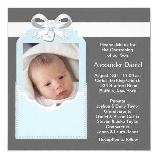 Blue Gray Baby Boy Photo Christening 13 Cm X 13 Cm Square Invitation Card