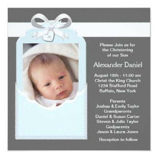 Blue Gray Baby Boy Photo Christening Custom Announcement