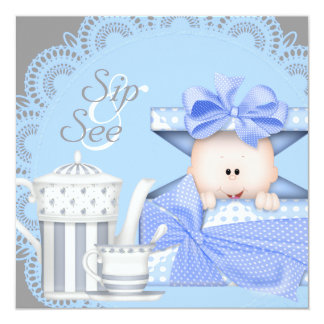 Blue Gray Baby Boy Sip And See Invitations