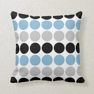 Blue, Gray, Black Retro Circles Pattern Throw Cushions