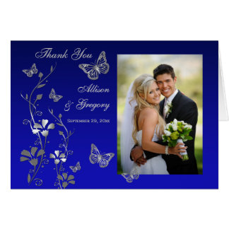 Blue, Gray Butterfly Floral Photo Thank You Card