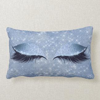 Blue Gray Cat's Eye Lashes Glitter Makeup Black Lumbar Cushion