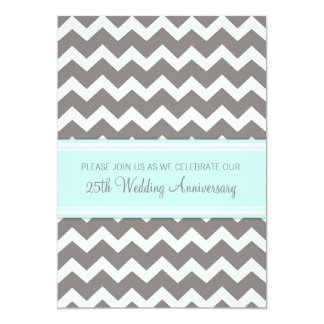 Blue Gray Chevron 25th Anniversary Invitation