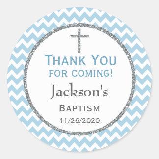 Blue Gray Chevron Boys Baptism Thank You Favor Tag Round Sticker