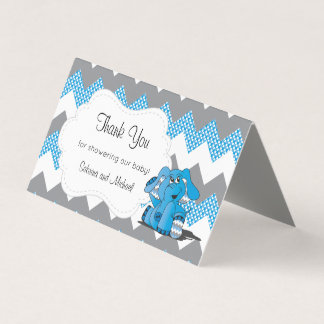 Blue & Gray Chevron Elephant | Candy Toppers Business Card