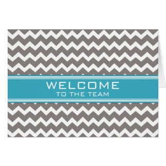 Blue Gray Chevron Employee Welcome to the Team Greeting Card