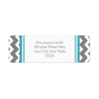 Blue Gray Chevrons Custom Return Address Labels
