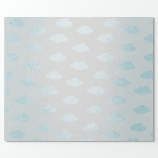 Blue Gray Claud Princess New Baby Wrapping Paper