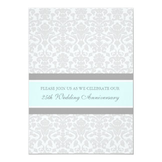 Blue Gray Damask 25th Anniversary Party Invitation