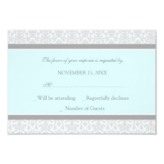 Blue Gray Damask RSVP Wedding Card Personalized Invitation