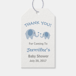 Blue & Gray Elephant Baby Shower Favor Tags