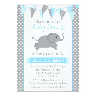 Blue Gray Elephant Polka Dot Bunting Baby Shower Card