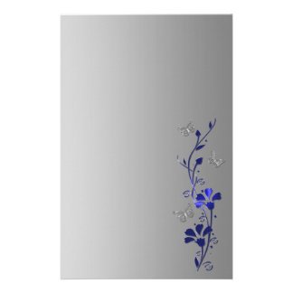 Blue, Gray Floral Butterflies Wedding Stationery