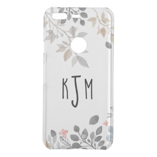 Blue & Gray Floral Monogram Phone Cover