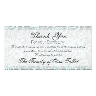 Blue Gray Floral Pattern Sympathy Thank You P card Photo Card Template