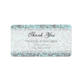 Blue Gray Floral Pattern Thank You Address Label