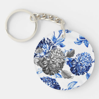 Blue & Gray Garden Botanical Floral Key Ring