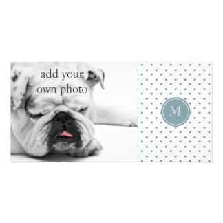 Blue Gray Glitter Hearts with Monogram Custom Photo Card