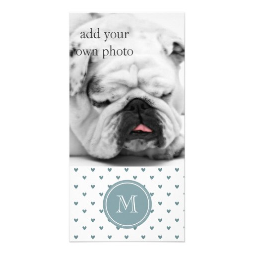 Blue Gray Glitter Hearts with Monogram Customized Photo Card