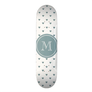 Blue Gray Glitter Hearts with Monogram Custom Skate Board