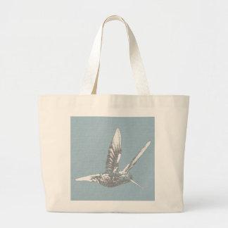 Blue Gray Hummingbird Tote Bags
