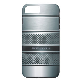 Blue Gray Metallic Stripes Background iPhone 7 Plus Case