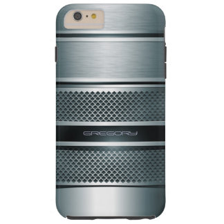Blue Gray Metallic Stripes Background Tough iPhone 6 Plus Case