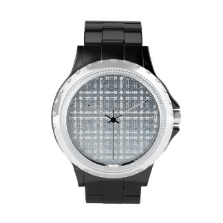 Blue Gray Modern Plaid Netted Ombra 1 Wristwatches