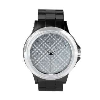 Blue Gray Modern Plaid Netted Ombra 2 Wrist Watches
