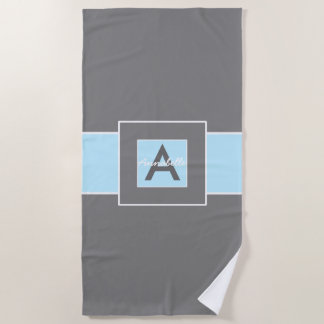 Blue Gray Monogram Personalized Beach Towel