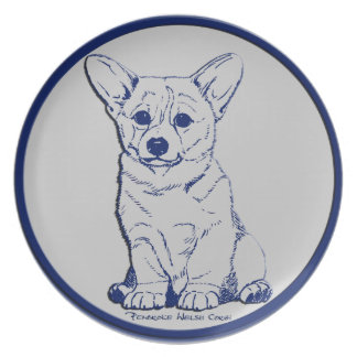 Blue & Gray - Promising Puppy Dinner Plates