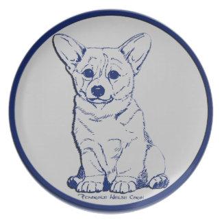 Blue & Gray - Promising Puppy Dinner Plates