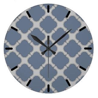Blue-gray quatrefoil large clock