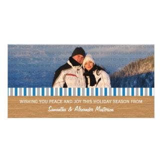 Blue/Gray Rustic Stripes Photo Card