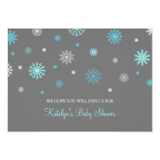 Blue Gray Snow Christmas Custom Baby Shower 13 Cm X 18 Cm Invitation Card