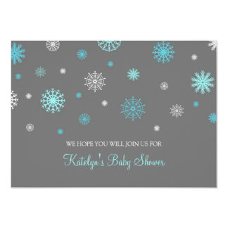 Blue Gray Snow Christmas Custom Baby Shower Card