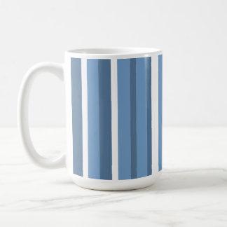 Blue-Gray Stripes; Striped Classic White Coffee Mug