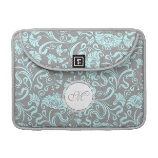 Blue Gray Vintage Floral Pattern Monogram M Sleeve