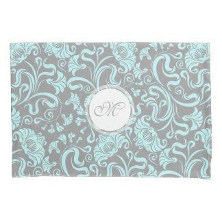 Blue Gray Vintage Floral Pattern Monogram Pillow C Pillowcase
