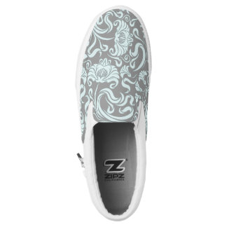 Blue Gray Vintage Floral Pattern Monogram Sl Shoes Printed Shoes