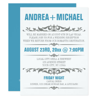 Blue & Gray Wedding Reception ONLY Invitations