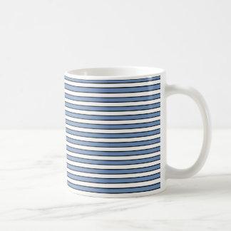 Blue/Gray, White and Black Stripes Basic White Mug