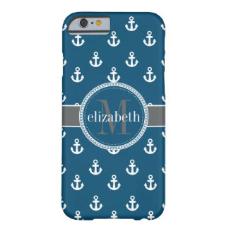 Blue Gray White Ship Anchors Monogram Barely There iPhone 6 Case