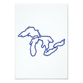 "Blue Great Lakes 3.5"" X 5"" Invitation Card"