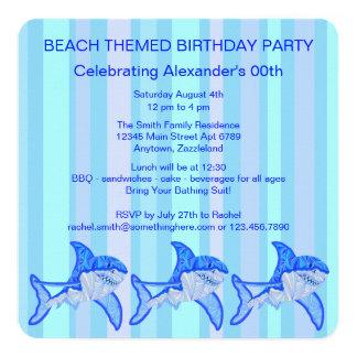 Blue Great White Shark Colorful Sea Stripes 13 Cm X 13 Cm Square Invitation Card