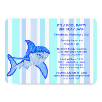 Blue Great White Shark Colorful Sea Stripes 13 Cm X 18 Cm Invitation Card