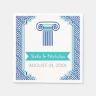 Blue Greek key and column Grecian wedding Disposable Napkin