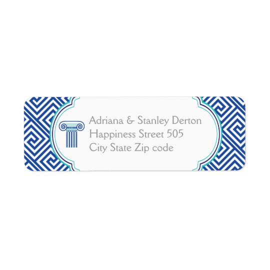 Blue Greek key and column Grecian wedding Return Address Label