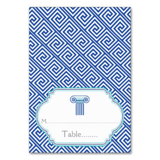 Blue Greek key and column wedding place card Table Cards