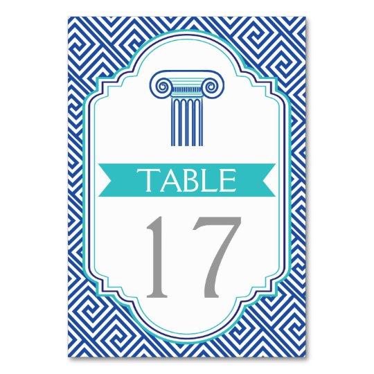 Blue Greek key and column wedding table number